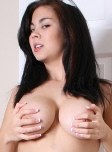 Busty Babe Teases As She Shows Off In Just Knee High White Stockings - Picture 6